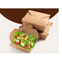China Brown Paper Takeaway Food Packaging Containers , Fast Food Salad Paper Takeout Boxes accept customized logo printing on sale