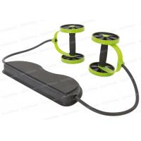 China Stomach Workout Double AB Roller Wheel With Handle TPR Foot Straps on sale