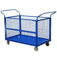 Quality CE Collapsible Wire Container , Capacity 300kg U - Type Handle Platform Truck With 4 Mesh Sides for sale