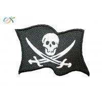 China Twill Fabric White Skull Custom Motorcycle Patches With For Clothing Shape Customized on sale