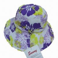 Quality Ladies Large Brim Summer Bucket Hat, Made of 100% Cotton Printed Fabric for sale