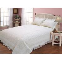Quality Microfiber Embroidery Double Bed Quilt Covers , Plain Color Design Quilted Bed Covers for sale