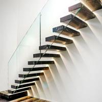 Quality Hot selling led light staircase glass wall with wood staircase floating stairs for sale