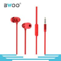 China Bwoo New Design 1.2M Red Color Wired Earphone with Microphone on sale