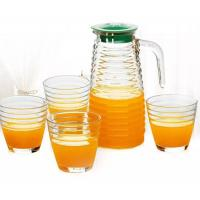 Quality Machine Made 5pcs Glass Water Cup Set With JugCup Kitchenware For Tea Liquid for sale