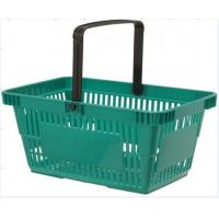 Quality Green Portable Plastic Grocery Hand Baskets Singal Handle European Style for sale