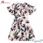 Quality 89D17384 Fashion Round Neck Lotus Leaf Sleeve High Waist Floral Print Linen Dress Women for sale