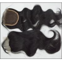 China Natural Black Lace Top Closure / Curly Chinese Human Hair Tangle Free on sale