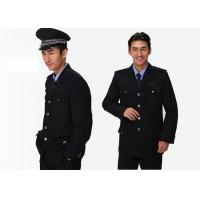 China Single Breasted Security Guard Uniform , Long Sleeve Black Security Jacket For Men on sale