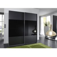 Black Glass Sliding Wardrobe Lacquer High Gloss Painting Wooden Bedroom Furniture 2.3 Meters Height