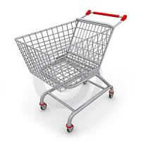 Quality NR Plastic Core White Rubber Covered Roller Application Shopping Cart for sale
