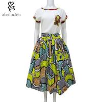 Quality Womens African Print Skirts 100% Cotton Batik Fabric African Fashion Skirt High Low  Floor Length for sale