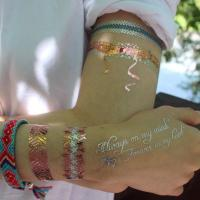 Quality Custom temporary mixed gold and silver flash metal tattoos with factory price for sale