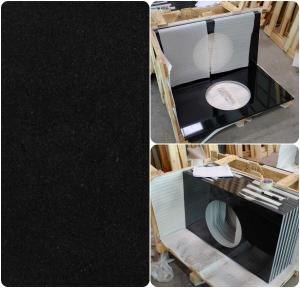 Black Natural Granite Countertops, High Density Solid Black Granite Countertops