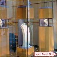 Quality Customized good quality mdf case cabinet glass jewelry display tower for window display for sale