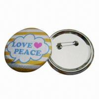 Quality Button Badges with CMYK Color Offset Printing and Safety Pin, Customized Designs are Accepted for sale