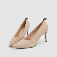 Quality ZM007 9871-1 Pointed Stripe Suede Ladies High-Heeled Shoes Stiletto Nightclub Style Diamond-Studded Women'S Shoes for sale