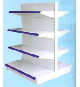 Quality OEM 4 Tier Double Back Plate Steel Supermarket Shelf for sale