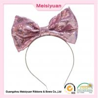 China Large Sequin hair Bows Flower Girl Headband For Party 20cm charming design on sale