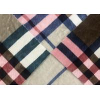 China Coral Fleece Soft Blanket Fabric Checked / 530GSM Synthetic Blanket Material on sale