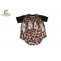 Quality Outdoor Short Sleeve Baseball Tee Womens , Custom Made Leopard Print Baseball Tee for sale