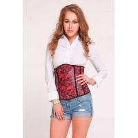 Quality RED Floral Faux Leather Underbust Corset LACE CORSET Satin corset leather corset for sale