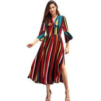 Buy cheap Rainbow Long Dress Striped Split Midi Casual Dresses Short Sleeve For Spring from wholesalers