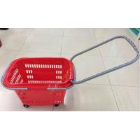 Quality Extensible Draw Bar Shopping Basket With Wheels And Handle , Grocery Basket On Wheels for sale