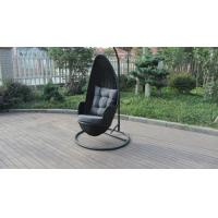 Quality Stock Discount Rattan Furniture Black Rattan Hanging Swing Chair With Grey Cushion for sale