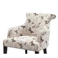 Rosy Rollback Upholstered Accent Chairs Plywood Frame With Birch Wood Legs