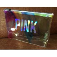 Quality Clear Laser Luxury PVC Cosmetic Bag Top Logo Printing With Shining Zipper for sale