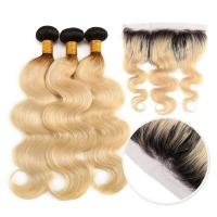 Quality 10A Grade 100% Peruvian Ombre Human Hair Extensions 1B / 613 Blonde Color for sale