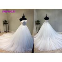Quality Stunning Organza Strapless Ball Gown Wedding Dresses , Long Train White Lace Ball Gown for sale
