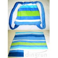 China Pool Bath Embroidered Beach Towels Tote 2 In 1 Resistant Striped Blue 70cm x 150cm on sale