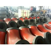 Quality sch80 red painted beveled ends steel tube elbows with end caps for sale