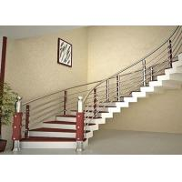 Quality Curved Stainless Steel Railing / Interior Metal Stair Railing Good Horizontal Load Resistance for sale