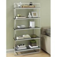 Durable Contemporary Metal Shelf Rack Silver For Book Display