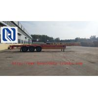 China Blue 50 Ton Low Bed Trailer Two Single , 2 Axles dumper Semi Trailer Truck on sale
