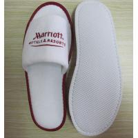Buy cheap velour disposable slipper with embroidery logo open toe from wholesalers