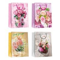 Quality Valentine day flower pattern designs Paper Shopping Bags for sale