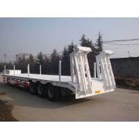 Quality 3 Axle 60 Ton Low Bed Semi Trailer , Heavy Duty Flatbed Trailer With Mechanical Suspension for sale