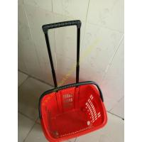Quality Supermarket Plastic Shopping Basket With Wheels , 455 * 355 * 415 mm for sale