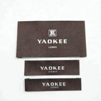 China Garment labels and tags, brand name 100% polyester fabric woven labels for clothing with wash instruction on sale