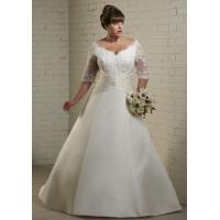 China NEW!!! Plus size Long sleeves Ball gown wedding dress Satin Bridal gown #dq5115 on sale
