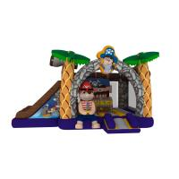 Buy cheap Inflatable pirate topic combo inflatable pirate treasure themed combo house with double slide for kids from wholesalers
