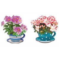 Quality Garden Ceramic Jumbo Tea Cup Planters With Attached Saucer Stripe / Polka Dots for sale