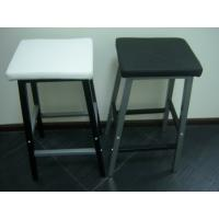 Quality Classic Modern Bar Chairs with Black and White PU and Matel Foot Tall Back Dining Chairs for sale