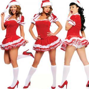 Quality 4 PIECE SANTA MAID CHRISTMAS COSTUME Party Costume Santa Mini Christmas Lingerie Costume for sale