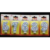 Birthday Candles Handmade Number Candle with Blue Edge and 3 Colors Lines Painted