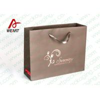 Quality Brown Custom Paper Shopping Bags With Bottom Cardboard Satin Ribbon for sale